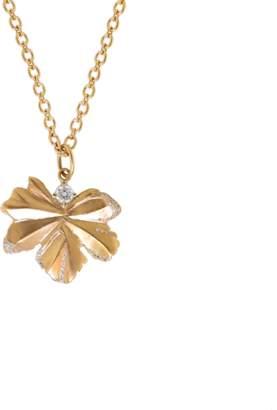 Irene Neuwirth JEWELRY Gold Leaf And Diamond Pendant