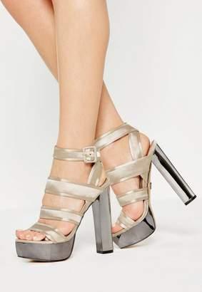Missguided Beige Satin Platform Heeled Sandals
