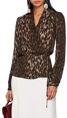 L'Agence Women's Cara Leopard-Print Silk Wrap Blouse
