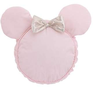 Disney Minnie Mouse Decorative Shaped Pillow with Dimensional Ears & Bow, Pink & Metallic Gold.