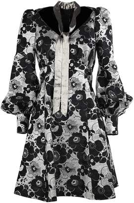 Marc Jacobs Metallic-flowers Silk-blend Mini Dress