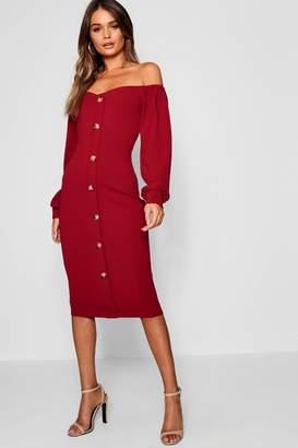 boohoo Off The Shoulder Long Sleeve Button Midi Dress