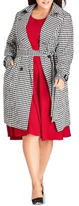 City Chic Plus Double-Breasted Houndstooth Trench Coat