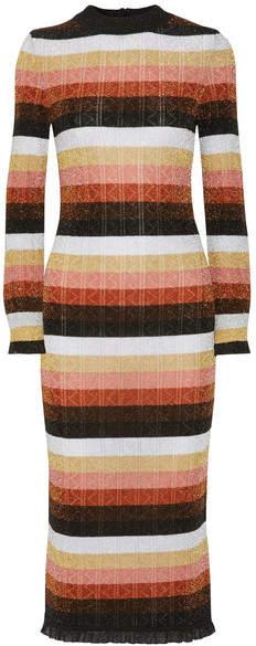 Fendi - Striped Metallic Wool-blend Midi Dress - Orange