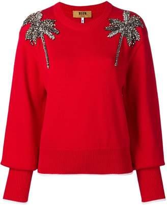 MSGM palm tree embellished sweater