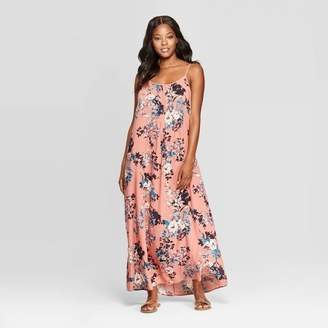 Xhilaration Women's Floral Print Sleeveless Strappy Scoop Neck Maxi Dress Coral