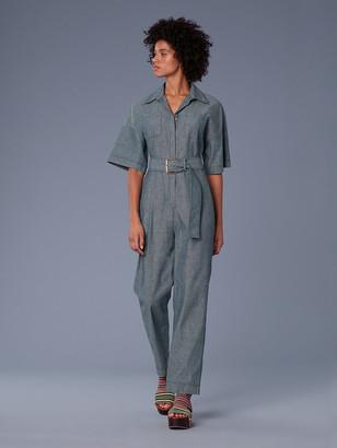 Diane von Furstenberg Short-Sleeve Pocket Denim Jumpsuit