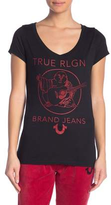 True Religion Graphic Logo Rhinestone Scoop Neck Tee