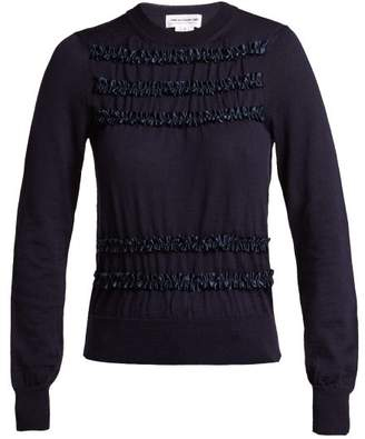 Comme des Garcons Ruffled Wool Sweater - Womens - Navy