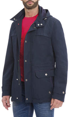 Stefano Ricci Hooded Wool-Silk Parka Jacket, Navy