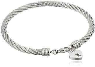 Stainless Steel Cable Bangle with Heart Lock Charm Bracelet