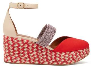 Malone Souliers Sasha Canvas Espadrille Wedges - Womens - Red Multi