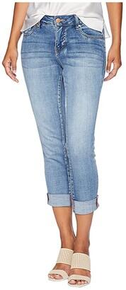 Jag Jeans Petite Petite Carter Girlfriend Crosshatch Denim Jeans in Thorne Blue w/ Destruction