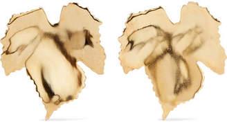 Oscar de la Renta Grape Leaf Gold-tone Clip Earrings