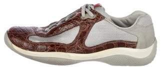 Prada Sport Crocodile-Trimmed Mesh Sneakers