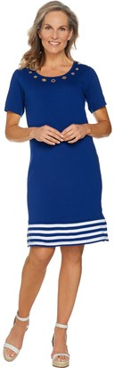 Factory Quacker Short Sleeve Striped Hem Knit Dress with Grommet Detail