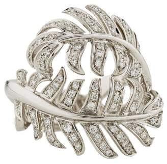Chanel 18K Diamond Plume Ring