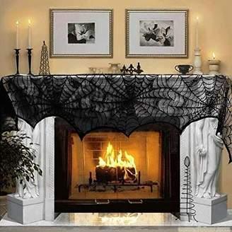 "Luditek Halloween Decorations Halloween Fireplace Decor Spiderweb Mantle Scarf Cover Festival Party Supplies 18"" x 96"" Indoor Outdoor"