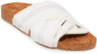 Figue Suki Metallic-Stripe Cotton Cork Flat Sandals
