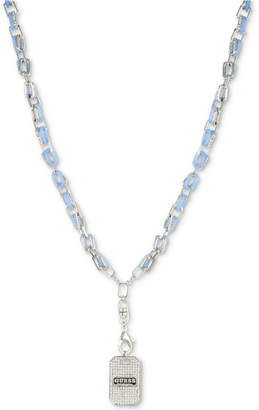 """GUESS Silver-Tone Pave & Blue Link Dog Tag Pendant Necklace, 28"""" + 2"""" extender"""