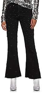 MM6 MAISON MARGIELA Women's Distressed Flare Jeans - Black