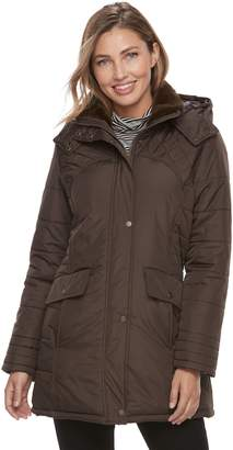 KC Collections Women's Lace-Up Faux-Fur Trim Puffer Jacket