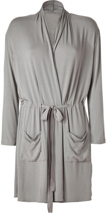 Lounge Lover Taupe Jersey Belted Wrap Cardigan