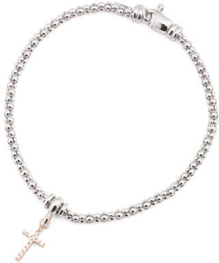 Made In Italy Two Tone Sterling Silver Cz Cross Bracelet