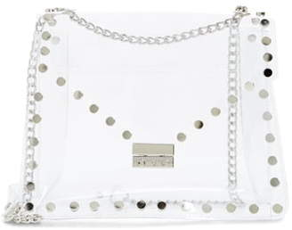 clear Knotty Studded Shoulder Bag