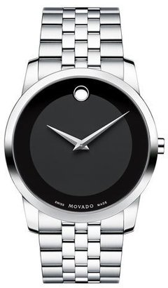 Movado 40mm Museum Classic Watch, Silver/Black $795 thestylecure.com