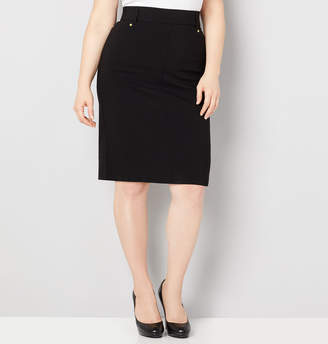 Avenue Super Stretch Skirt with Button Detail