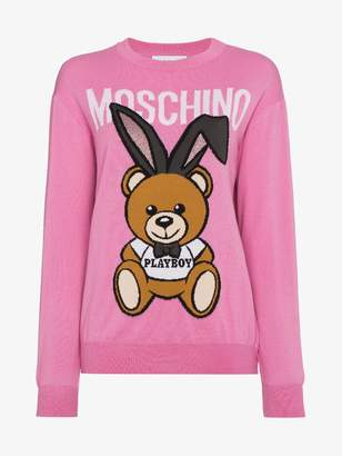 Moschino Wool crew neck sweater with bear logo