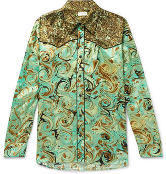 Dries Van Noten Piped Marble-Print Satin Western Shirt