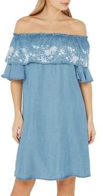 Dorothy Perkins Embroidered Mid-Wash Off-the-Shoulder Dress