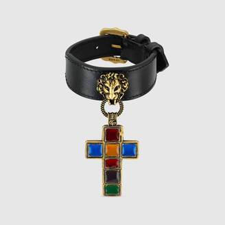 Gucci Leather bracelet with cross pendant