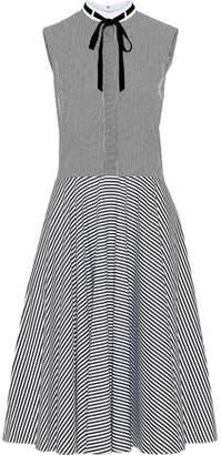 ADAM by Adam Lippes Velvet Pussy-Bow Striped Cotton-Poplin Dress