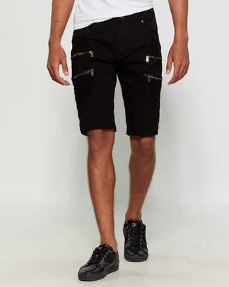 X-Ray X Ray Black Moto Zip Denim Shorts