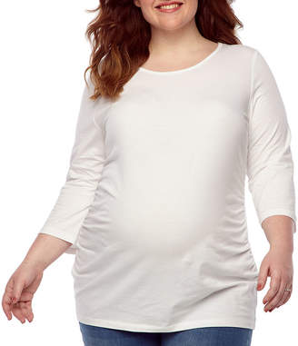 BELLE + SKY Belle & Sky Maternity 3/4 Sleeve Scoop Neck Tee - Plus