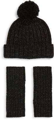 UGG Collection Shimmer Cable Knit Arm Warmers & Pom Beanie Set