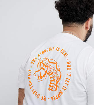 Asos DESIGN Plus longline t-shirt with text and snake back print