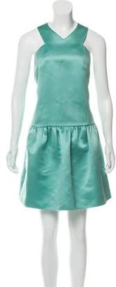 Tibi Satin Pleated Mini Dress
