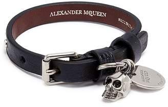 Alexander McQueen Skull charm stud leather bracelet