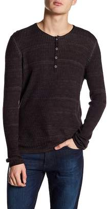 John Varvatos Collection Wool Long Sleeve Ribbed Henley Shirt