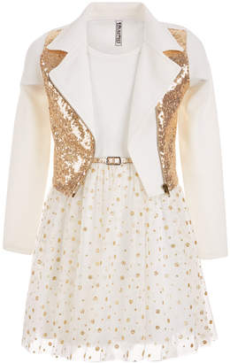Beautees Big Girls Plus 2-Pc. Sequin Jacket & Glitter Dress