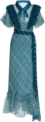 Luisa Beccaria Chiffon Printed Check Dress