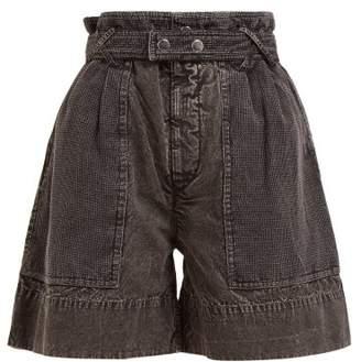 Isabel Marant Twen Turn Up Washed Denim Shorts - Womens - Black
