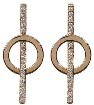 Lana 14K Yellow Gold Pave Diamond Circle & Bar Stud Earrings - 0.26 ctw