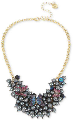 "Betsey Johnson Gold-Tone Imitation Pearl and Pave Butterfly Statement Necklace, 16"" + 3"" extender"