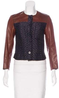 Theory Leather-Accented Tweed Jacket