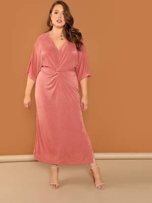 Shein Plus Twist Front V-Neck Dress